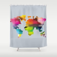 Geo World Map Shower Curtain