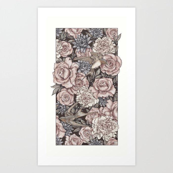 Flowers & Swallows Art Print