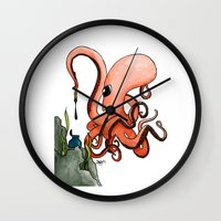 writer Wall Clocks featuring Octopus Writer by Zekis Art