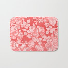 Living coral pink watercolor country chic floral Bath Mat