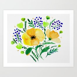 Flower bouquet with poppies - yellow and blue Art Print