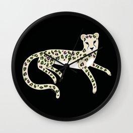 Leopard on black Wall Clock