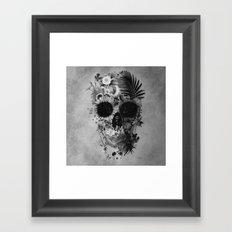 Garden Skull B&W Framed Art Print