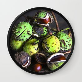Autumnal Still Life with Chestnuts Wall Clock