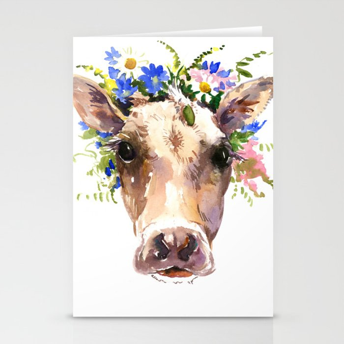 Cow Head, Floral Farm Animal Artwork farm house design, cattle Stationery  Cards by sureart
