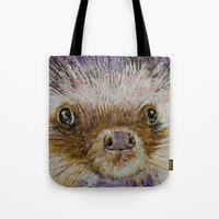 hedgehog Tote Bags featuring Hedgehog by Michael Creese
