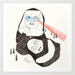 Fighting Nuns Art Print