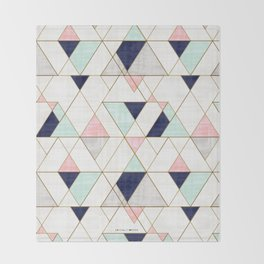 Mod Triangles - Navy Blush Mint Throw Blanket