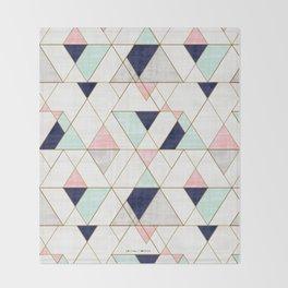 Mod Triangles - Navy Blush Mint Throw Blanket
