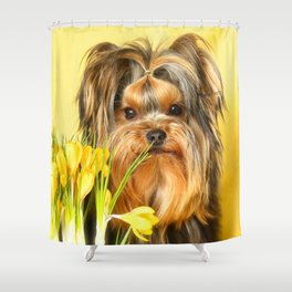 Spring Yellow Crocuses With Yorkie Puppy #decor #society6 Shower Curtain