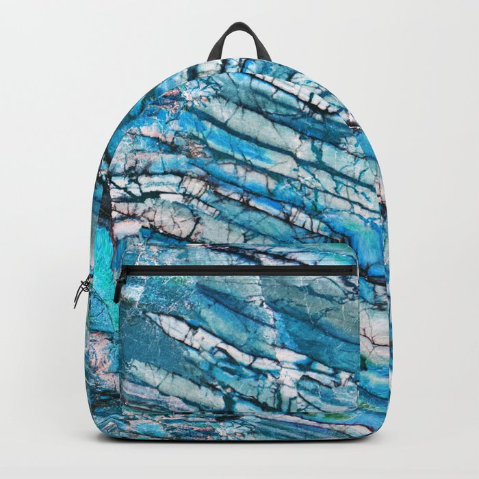 Blue Marble with Black Backpack
