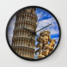 Italy Photography - Leaning Tower of Pisa Under The Blue And Cloudy Sky Wall Clock