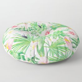 My pink Flamingo and Palm Leaves Aloha Tropical Jungle Garden Floor Pillow