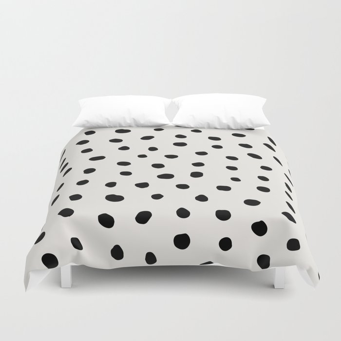 Modern Polka Dots Black on Light Gray Duvet Cover