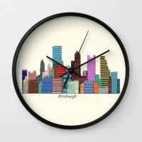 pittsburgh Wall Clocks featuring Pittsburgh by bri.buckley