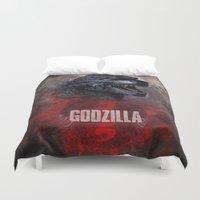 godzilla Duvet Covers featuring Godzilla by Denda Reloaded