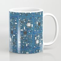 transistor Mugs featuring Blue tech by GrandeDuc