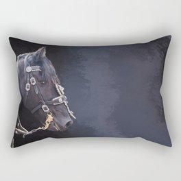 Friesian horse portrait Rectangular Pillow