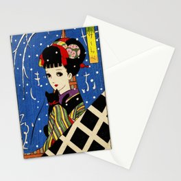 Girl with a cat Stationery Cards