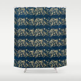 Abstract navy blue watercolor gold color stripes Shower Curtain