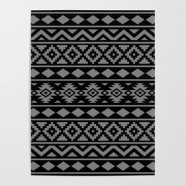 Aztec Essence Ptn III Grey on Black Poster