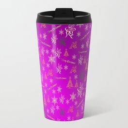 purple gold Merry christmas text in gold, beautiful reindeer, green fir trees, bright stars festive Travel Mug