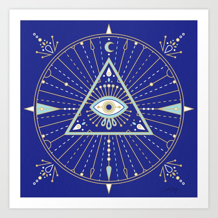 Evil Eye Mandala – Navy Art Print