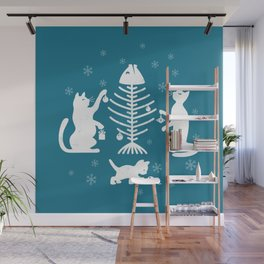 Cats at Christmas Wall Mural