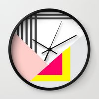 memphis Wall Clocks featuring Memphis Milano by Xchange Art Studio