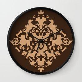 Dog Damask Wall Clock
