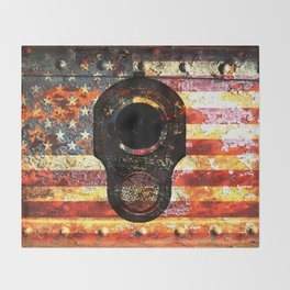 M1911 Colt 45 On Rusted American Flag Throw Blanket