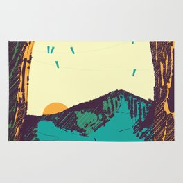 Upward over the Mountain: Sunrise Rug