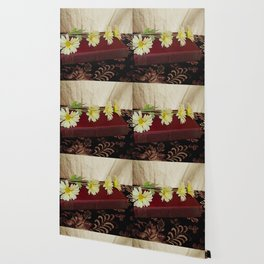Daisy Flowers on Red Book Library Art A223 Wallpaper