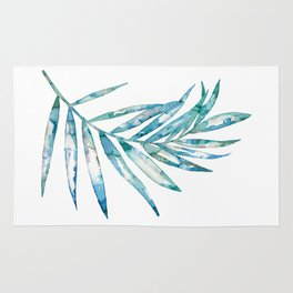 Blue Fern Leaf - Ink Painting - Botanical Rug