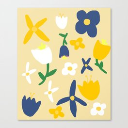 Yellow and Blue Daisy May Pattern Canvas Print