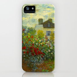 Claude Monet Impressionist Landscape Oil Painting A Corner of the Garden with Dahliass iPhone Case