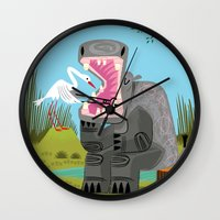 dentist Wall Clocks featuring Hippopotamouth by Oliver Lake