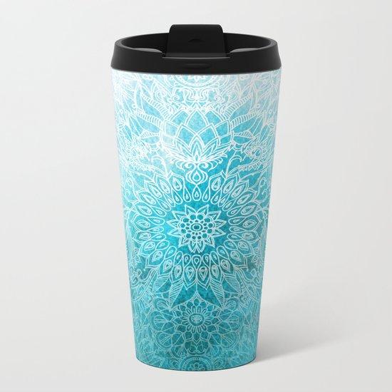 Fade to Teal - watercolor + doodle Metal Travel Mug