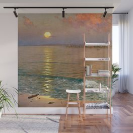 Dusk over the Coast with Lighthouse seascape nautical painting by Guillermo Gómez Gil  Wall Mural