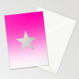 Star  Glitter effect  Pink  White Stationery Cards