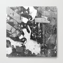 Rabbit at Crossroads Black and White Abstract Metal Print