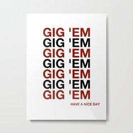 AGGIE GIG 'EM TEXAS A M Metal Print