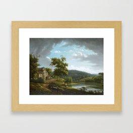 Alexandre-Hyacinthe DUNOUY (1757 - 1841) Paysage fluvial avec une ferme Framed Art Print