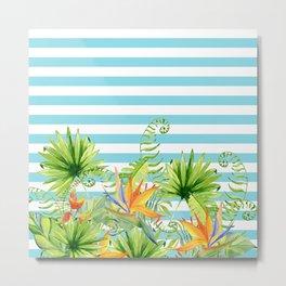 Tropical Chic Teal Blue Stripes Metal Print