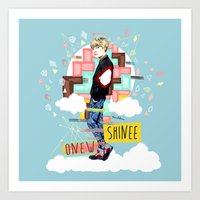 shinee Art Prints featuring SHINEE Onew by Haneul Home
