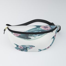 Rose Garden Whales Fanny Pack