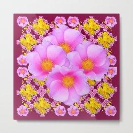 Pink & Yellow Burgundy Rose Flowers Art Metal Print