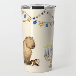 Capy Hanukkah - Capybara and Menorah Travel Mug