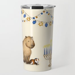 Capy Hanukkah - Capybara and Menorah Travel Mug