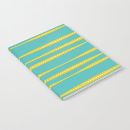 Abstract wavy stripes in mustard yellow, turquoise, off-white Notebook